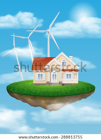 House with wind turbines on a floating island in the sky with clouds.