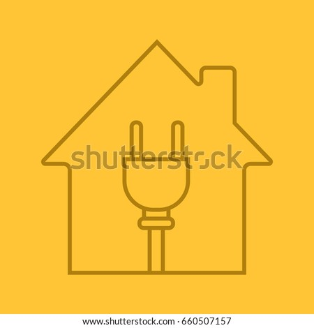 house wire plug inside linear icon stock vector royalty free rh shutterstock com