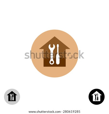House works service logo template with wrench and screwdriver - stock vector