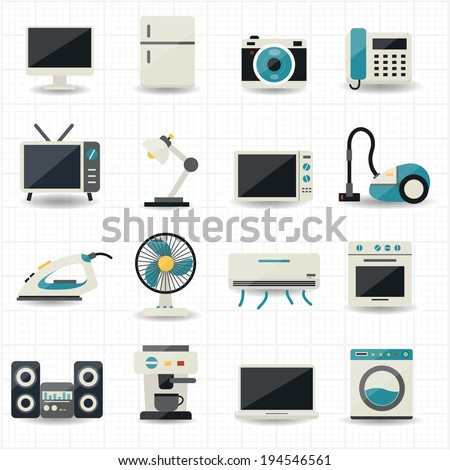 Household Appliances and Electronic Devices Icons - stock vector