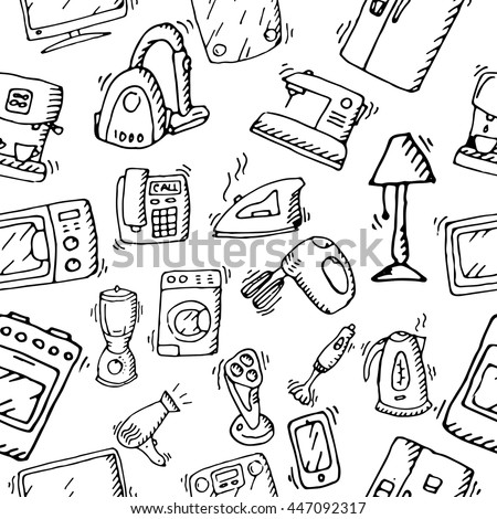 Household Appliances Electronic Devices Pattern Hand 447092317