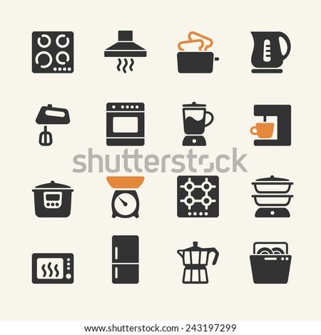 Household appliances for the kitchen. Web icons collection - stock vector
