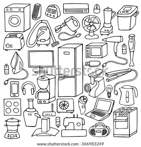 Household appliances hand drawn set. Vector illustration of doodle household appliances element - stock vector