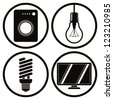 Household appliances icons set, washing machine, light bulb, energy saving light bulb, tv. - stock vector