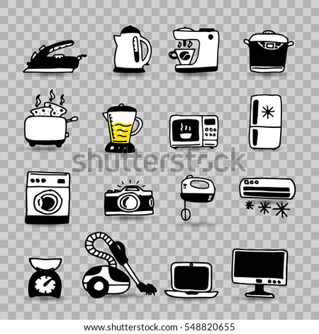 Household appliances isolated icon set, doodle style, vector illustration for your design
