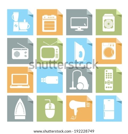Household appliances. Vector symbols.  EPS-10 (non transparent elements, non gradient). - stock vector