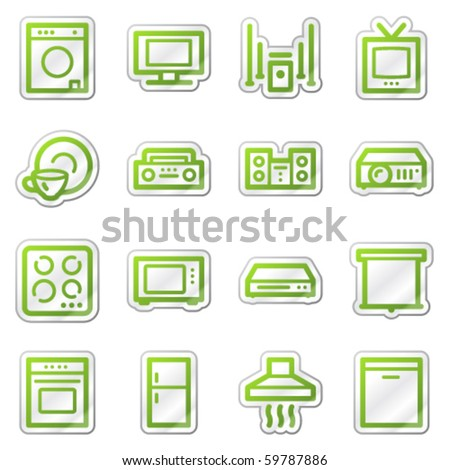 Household appliances web icons, green sticker series
