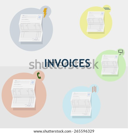 Household bills of different consumption. Water, electricity, heating, telephone and internet. Each invoice is inside a circle of color with its corresponding icon. - stock vector