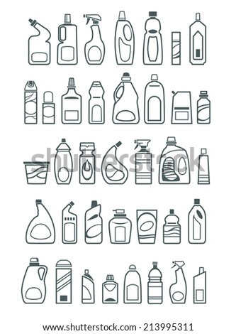 household chemicals and cleaning supplies bottles icons - stock vector