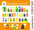 Household chemicals design set. Group of bottles of household chemicals. Simple flat icons. Smiling people.  - stock vector