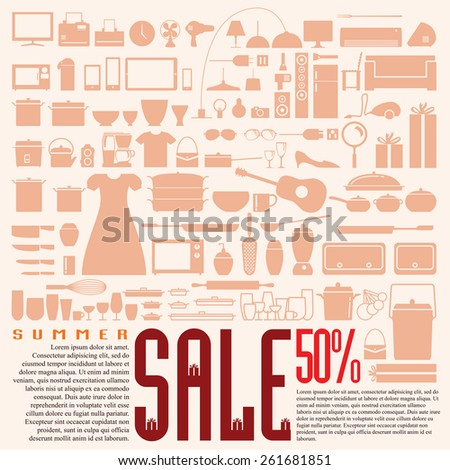 Household design element for SALE and Discount, Present for celebrate all season. - stock vector