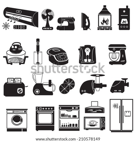 household device  Icons - stock vector