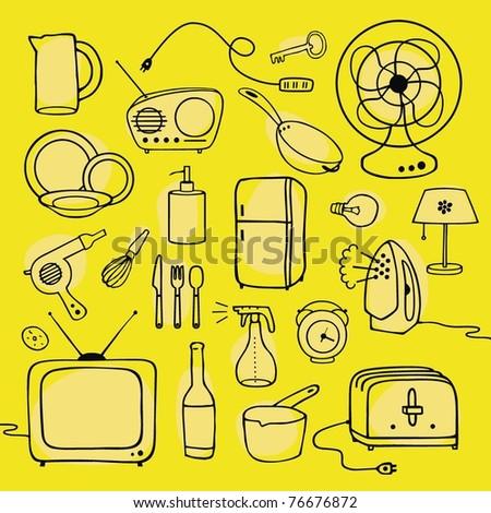 household items set - stock vector