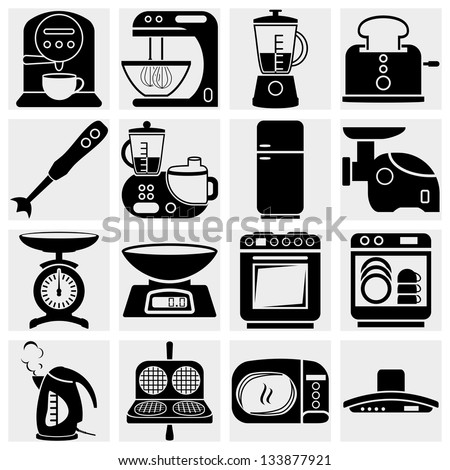 Household kitchen aplliance vector icons - stock vector