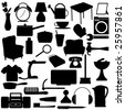 Household Silhouettes items - stock vector
