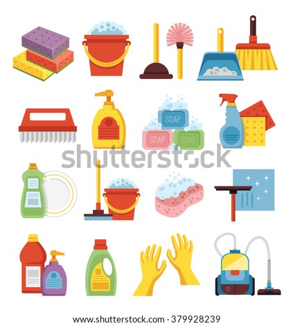 Household supplies and cleaning flat icons set. - stock vector