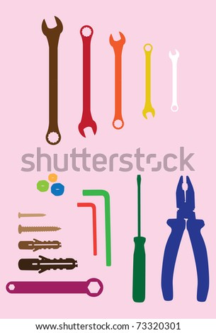 household tools and spanners on orange background - silhouette illustration - stock vector