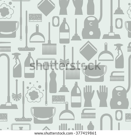 Housekeeping lifestyle seamless pattern with cleaning icons. Background for backdrop to site, textile printing and wrapping paper.