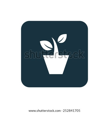 houseplant icon Rounded squares button, on white background  - stock vector