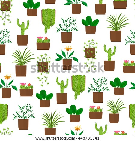 Houseplant seamless pattern. Flat style. Design flower Wallpaper. Blooming cactus. Green palm tree. Vector illustration. - stock vector