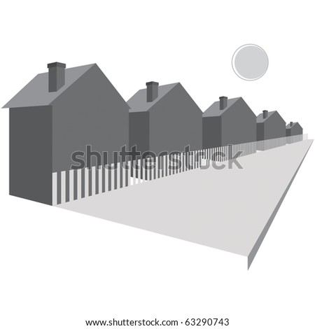 Houses along a street - stock vector