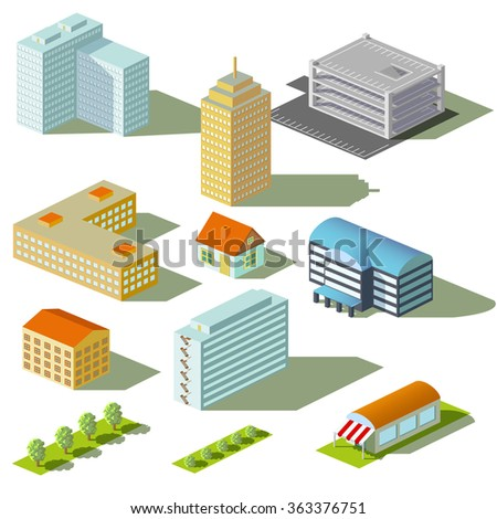 Houses and buildings isolated on white background. Isometric view.