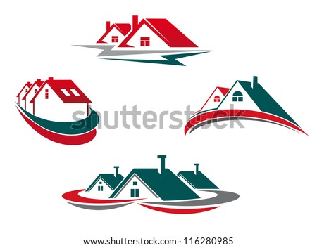 Houses and homes set for real estate business design. Jpeg version also available in gallery - stock vector