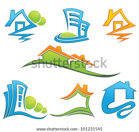 houses and office building, vector collection of symbols - stock vector