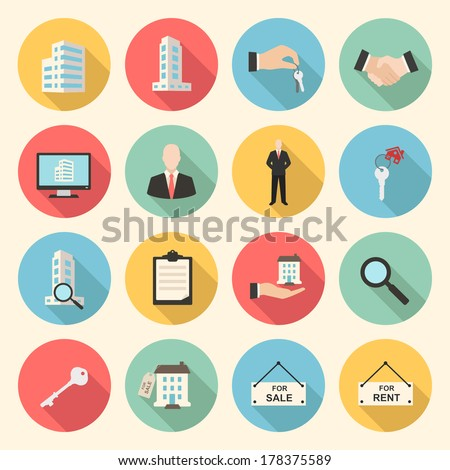 houses and real estate flat design icons set. template elements for web and mobile applications - stock vector