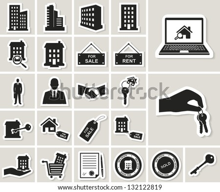 houses and real estate vector icons set. paper stickers - stock vector