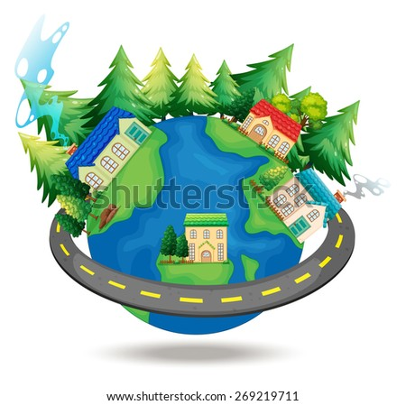 Houses around the world and pine trees - stock vector