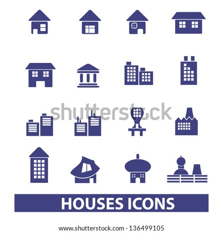 houses, buildings icons, signs set, vector - stock vector