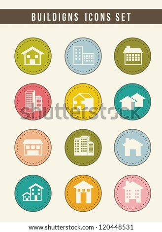houses buttons over beige background. vector illustration - stock vector