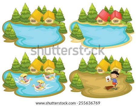 Houses by the lake - stock vector