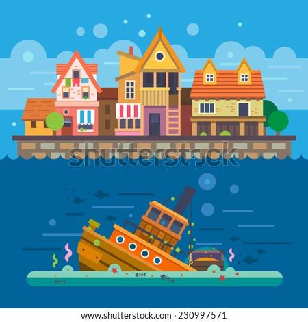 Houses by the sea. Embankment. Houses. Underwater World. Sunken ship. Vector flat illustration - stock vector
