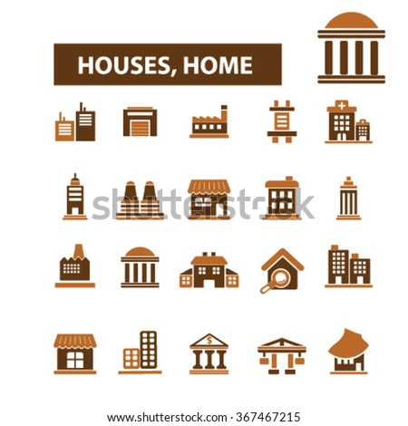 Houses, home, buildings, icons, signs, vector, concept, set. For infographics, mobile, website, application  - stock vector