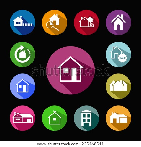 Houses Icon. Color logotype - stock vector