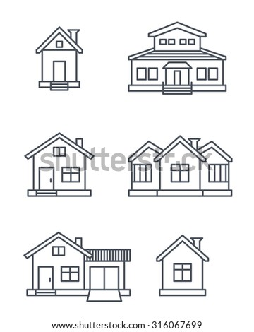 Houses icons set.  - stock vector