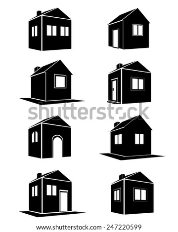 Houses icons set. Real estate - stock vector