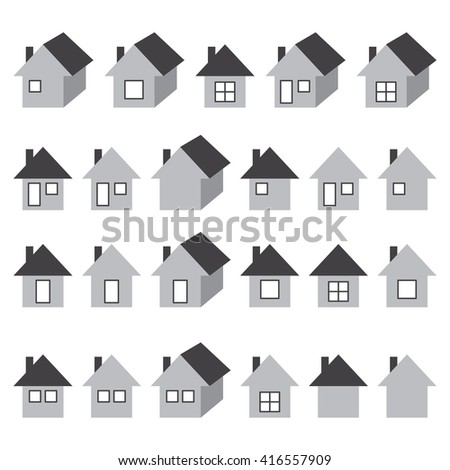 Houses icons set, real estate, grey isolated on white background, vector illustration.