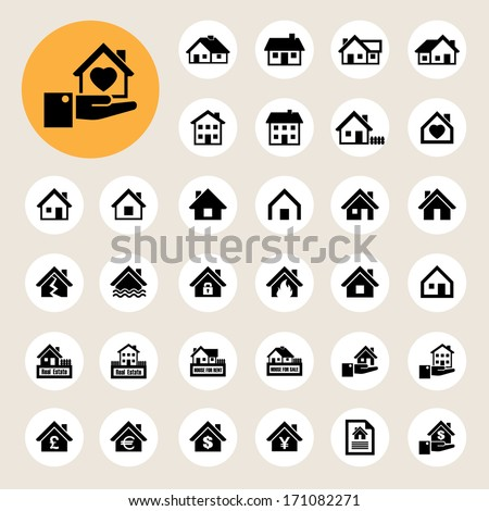 Houses icons set. Real estate. Illustration EPS10 - stock vector
