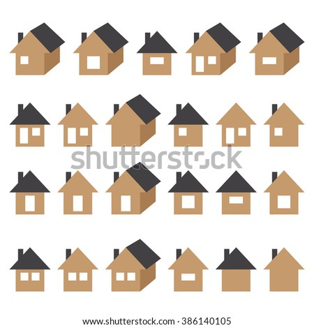 Houses icons set, real estate, no line isolated on white background, vector illustration.