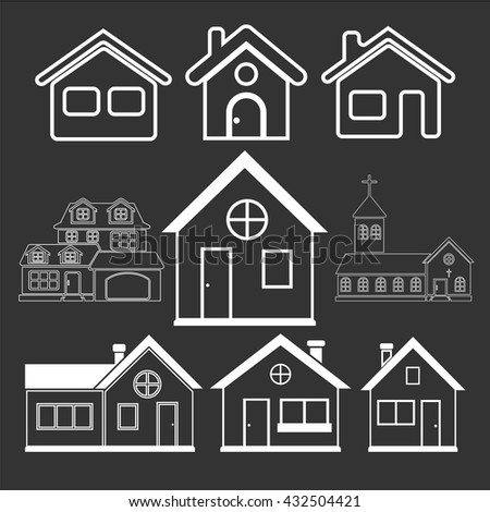 Houses icons set. Real estate. Vector icons - stock vector