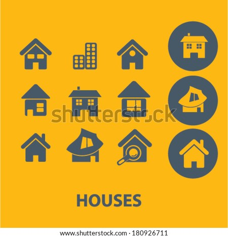 houses icons, signs, buttons, symbols, buttons, isolated set, vector on background - stock vector