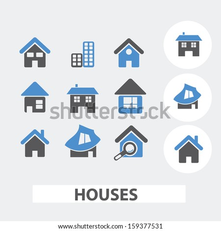 houses icons, signs set, vector - stock vector