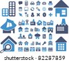 houses icons, signs, vector illustrations - stock vector