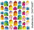 Houses, illustration, wallpaper, background, naive - stock vector