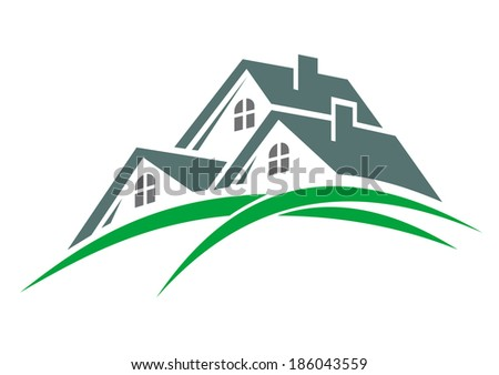Houses in a green eco environment logo with three roofs above green hillsides