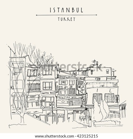 Houses in Istanbul, Turkey. Shopping street.  Freehand drawing Travel sketch. Vintage touristic postcard or poster template, book illustration in vector - stock vector