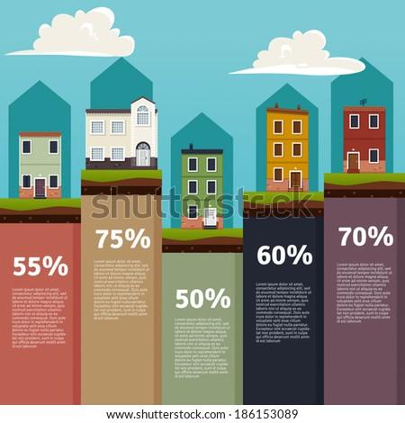 Houses info graphic - stock vector